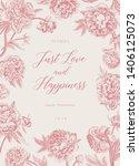 vintage vector floral... | Shutterstock .eps vector #1406125073