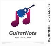 guitar note logo design template | Shutterstock .eps vector #1406127743
