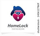 home lock logo design template | Shutterstock .eps vector #1406127869