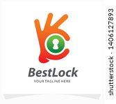 best lock logo design template | Shutterstock .eps vector #1406127893
