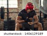 athlete boxer in sportswear... | Shutterstock . vector #1406129189