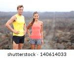 portrait of runner couple... | Shutterstock . vector #140614033