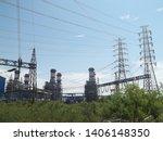 power plants meet nature ... | Shutterstock . vector #1406148350