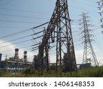 power plants meet nature ... | Shutterstock . vector #1406148353