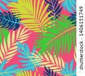 trendy summer tropical leaves... | Shutterstock .eps vector #1406151749