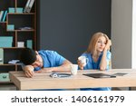 tired medical assistants at... | Shutterstock . vector #1406161979