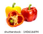 colorful bell peppers isolated on white background - stock photo