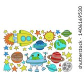 vector set of space elements... | Shutterstock .eps vector #1406169530