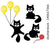 nice black cat on white... | Shutterstock .eps vector #140617366