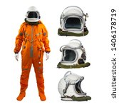 astronaut with helmets isolated ... | Shutterstock . vector #1406178719