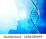 human dna molecule. studies of... | Shutterstock . vector #1406189699