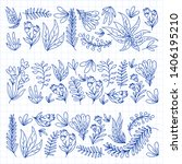 hand vector drawn floral ... | Shutterstock .eps vector #1406195210