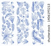 hand vector drawn floral ... | Shutterstock .eps vector #1406195213