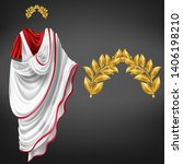 ancient white toga on red tunic ... | Shutterstock .eps vector #1406198210