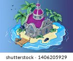 game landscape with a house... | Shutterstock . vector #1406205929