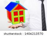 house model illustration 3d in... | Shutterstock . vector #1406213570
