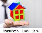 house model illustration 3d in... | Shutterstock . vector #1406213576