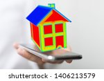 house model illustration 3d in... | Shutterstock . vector #1406213579