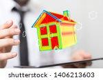 house model illustration 3d in... | Shutterstock . vector #1406213603