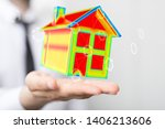 house model illustration 3d in... | Shutterstock . vector #1406213606