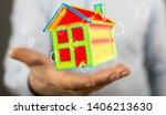 house model illustration 3d in... | Shutterstock . vector #1406213630