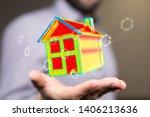 house model illustration 3d in... | Shutterstock . vector #1406213636