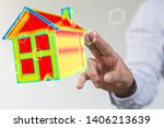 house model illustration 3d in... | Shutterstock . vector #1406213639