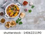 slices of fried vegetables with ... | Shutterstock . vector #1406221190