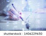 multi exposure of woman's... | Shutterstock . vector #1406229650