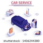 promo banner for car inspection ... | Shutterstock .eps vector #1406244380