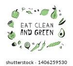 hand drawn set of vegetables ... | Shutterstock .eps vector #1406259530
