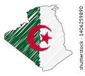 algeria map hand drawn sketch.... | Shutterstock .eps vector #1406259890