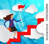 Effective manager is walking up the stairs with red flag and briefcase among white paper clouds on beautiful spring green sunny rays light background