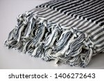 folded plaid cloth with tassels ... | Shutterstock . vector #1406272643