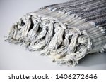folded plaid cloth with tassels ... | Shutterstock . vector #1406272646