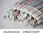 folded plaid cloth with tassels ... | Shutterstock . vector #1406272649