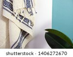 folded plaid cloth with tassels ... | Shutterstock . vector #1406272670