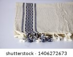 folded plaid cloth with tassels ... | Shutterstock . vector #1406272673