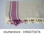 folded plaid cloth with tassels ... | Shutterstock . vector #1406272676