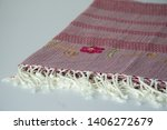 folded plaid cloth with tassels ... | Shutterstock . vector #1406272679