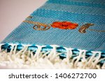 folded plaid cloth with tassels ... | Shutterstock . vector #1406272700