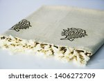 folded plaid cloth with tassels ... | Shutterstock . vector #1406272709