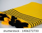 folded plaid cloth with tassels ... | Shutterstock . vector #1406272733