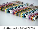folded plaid cloth with tassels ... | Shutterstock . vector #1406272766