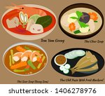 thai food set   thai cuisine  ... | Shutterstock .eps vector #1406278976