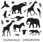 Stock vector vector flat black set collection of african animals silhouette isolated on white background 1406283350