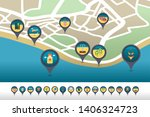 beach pin map icon located on... | Shutterstock .eps vector #1406324723