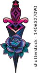 traditional tattoo with rose... | Shutterstock .eps vector #1406327090