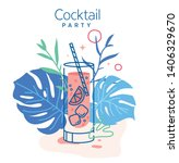 drinking cold mojito cocktail... | Shutterstock .eps vector #1406329670