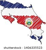 costa rica map hand drawn... | Shutterstock .eps vector #1406335523